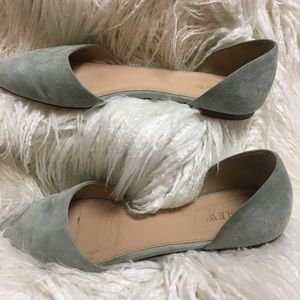 J Crew Blue D'Orsay Point Toe Flat